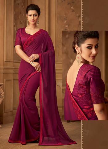 Violet Chiffon Silk Wedding Wear Embroidery Work Saree