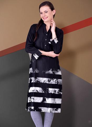 Violet Cotton Lace Border Work Casual Wear Kurti