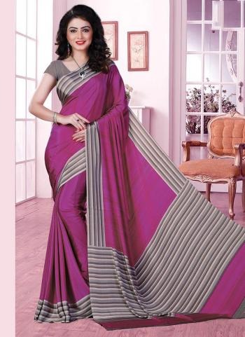 Violet Crepe Regular Wear Printed Work Uniform Saree