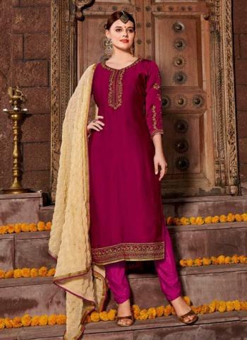 Violet Georgette Satin Casual Wear Embroidery Work Churidar Style