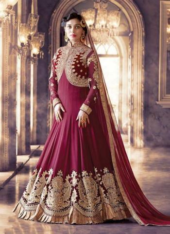 Violet Georgette Wedding Wear Heavy Embroidery Work Churidar Style