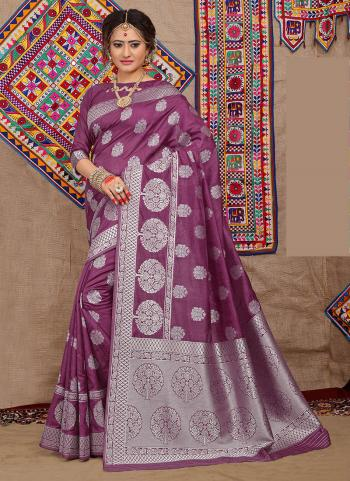 Violet Silk Festival Wear Zari Work Saree