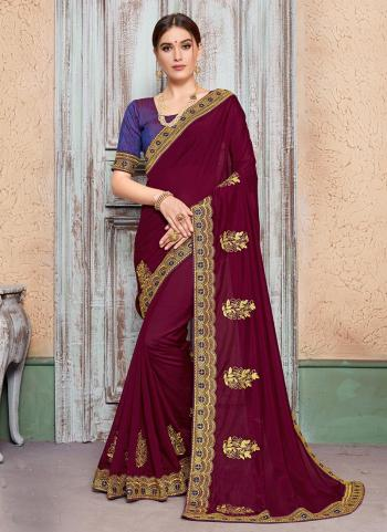 Violet Silk Party Wear Butta Work Saree