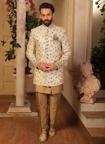 Wedding Wear Cream Jacqaurd Embroidery Work Sherwani Style