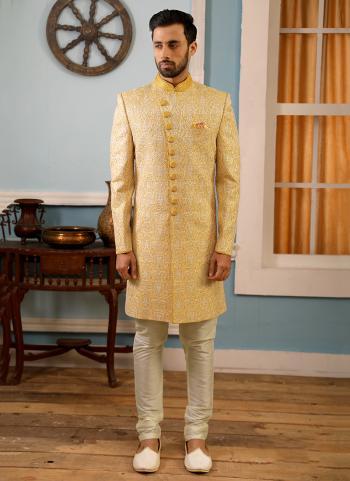 Wedding Wear Yellow Banarasi Silk Embroidery Work Sherwani Style Suit