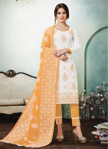 White Cambric Lawn Cotton Regular Wear Embroidery Work Churidar Style