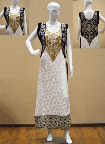 White Chiffon Reception Wear Hand Work Salwar Suit