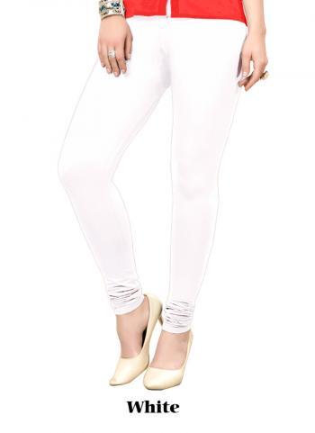 White Cotton Regular Wear Plain Leggins
