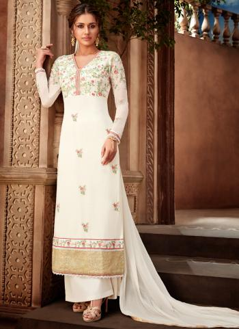 White Georgette Traditional Wear Embroidery Work Palazzo Suit