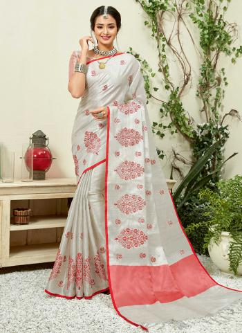 White Linen Party Wear Embroidery Work Saree