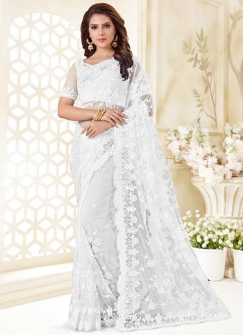 White Net Reception Wear Resham Work Saree