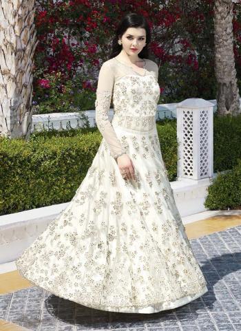 White Net Wedding Wear Embroidery Work Anarkali Suit