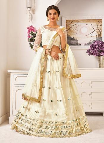 White Net Wedding Wear Sequins Work Lehenga Choli