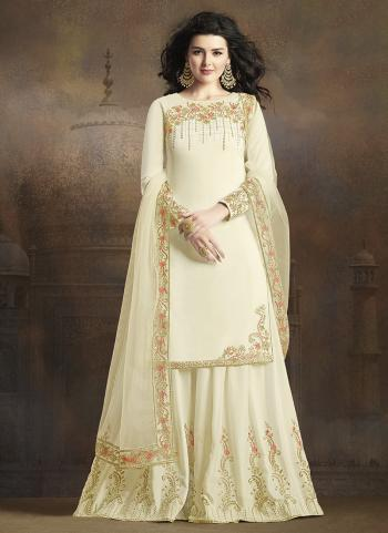 White Silk Traditional Wear Embroidery Work Sharara Suit