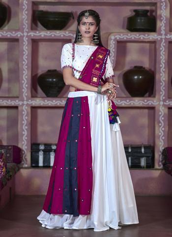 White Soft Cotton Wedding Wear Mirror Work Lehenga Suit