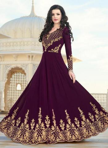 Wine Georgette Wedding Wear Heavy Embroidery Work Anarkali Suit