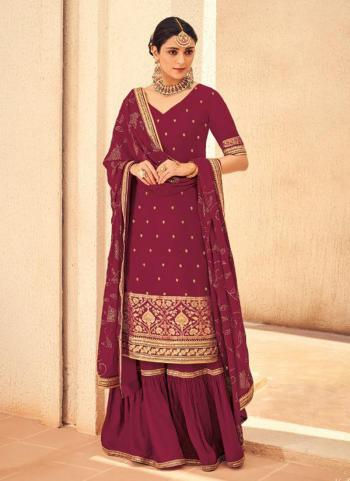 Wine Jacqaurd Silk Wedding Wear Embroidery Work Palazzo Suit