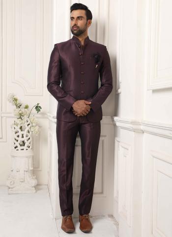 Wine Red Jodhpuri Party Wear Fancy Work Jacket And Pant