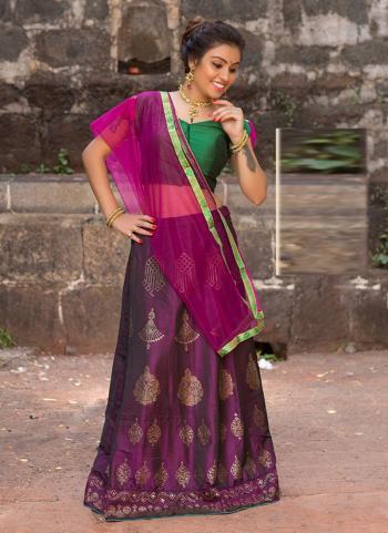 Wine Silk Festival Wear Embroidery Work Lehenga Choli