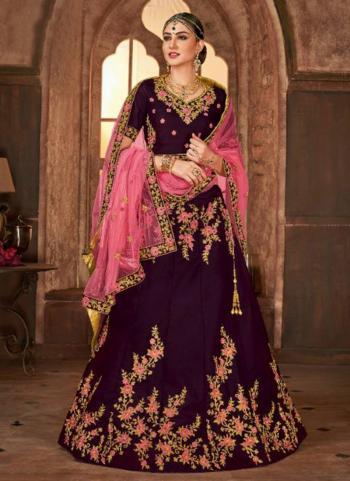 Wine Silk Wedding Wear Heavy Embroidery Work Lehenga Choli