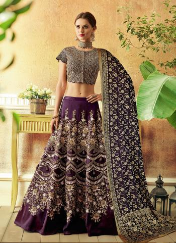 Wine Tapeta Silk Wedding Wear Thread Work Lehenga Choli