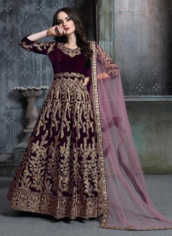 Wine Velvet Bridal Wear Heavy Embroidery Work Anarkali Suit