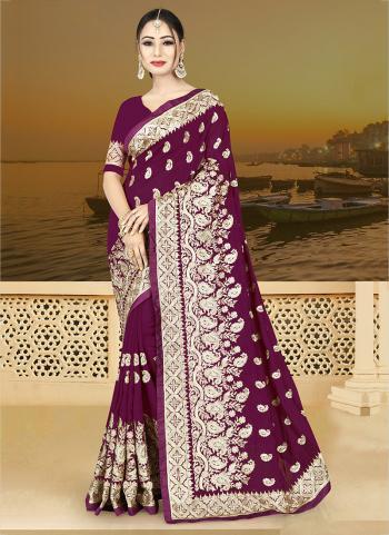 Wine Vichitra Silk Reception Wear Heavy Embroidery Work Saree