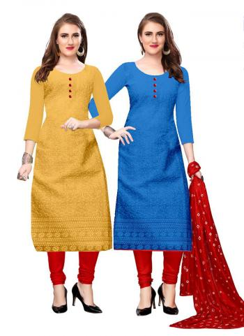 Yellow And Blue Cotton Daily Wear Chikan Work Two Top Churidar Style