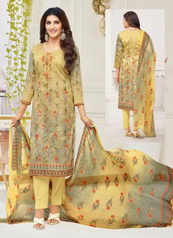 Yellow Cambric Cotton Daily Wear Printed Work Churidar Suit