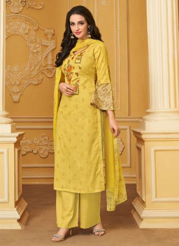 Yellow Cambric Cotton Regular Wear Embroidery Work Palazzo Suit