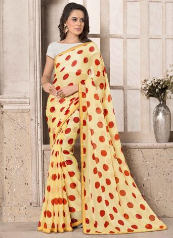 Light Yellow Chiffon  Casual Wear Printed Work Saree