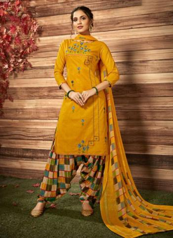 Yellow Cotton Cambric Daily Wear Embroidery Work Patiala Suit