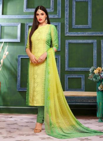 Yellow Cotton Daily Wear Chikan Work Churidar Suit