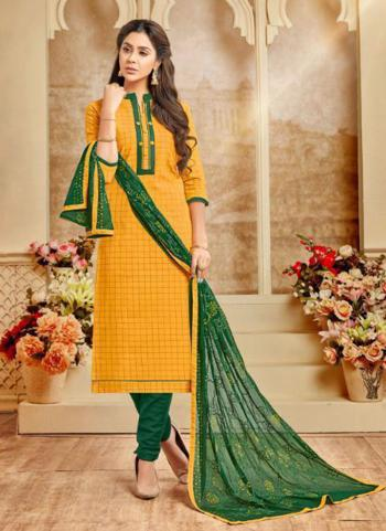 Yellow Cotton Daily Wear Printed Work Churidar Suit