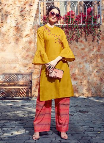 Yellow Cotton Regular Wear Embroidery Work Kurti With Palazzo