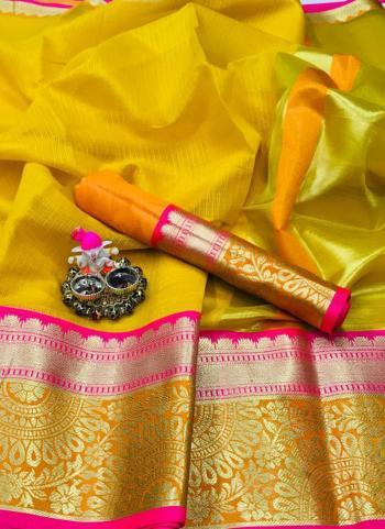 Yellow Cotton Silk Casual Wear Border Work Saree