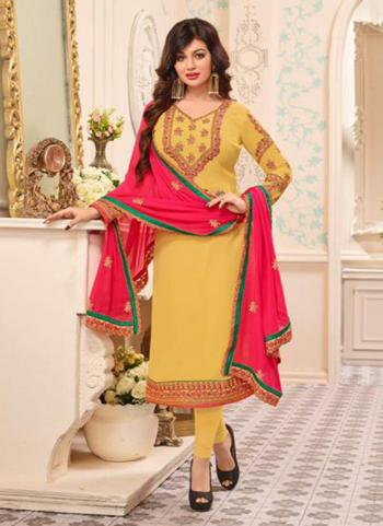 Yellow Faux Georgette Regular Wear Kasab Work Churidar Style