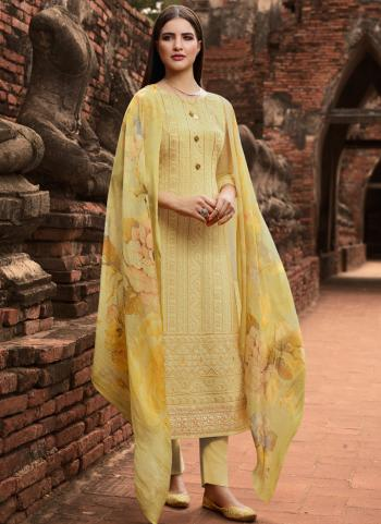 Yellow Georgette Festival Wear Embroidery Work Churidar Suit