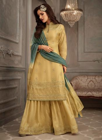 Yellow Georgette Party Wear Embroidery Work Salwar Suit