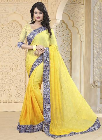 Yellow Jacqaurd Party Wear Embroidery Work Saree