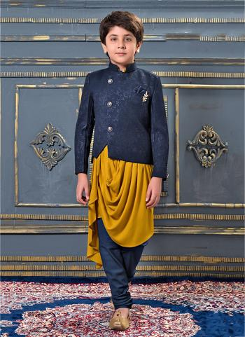Yellow Jacqaurd Party Wear Fancy Kids Dhoti Kurta