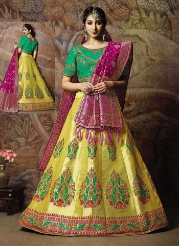 Yellow Jacqaurd Silk Reception Wear Thread Work Lehenga Choli