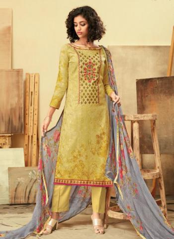 Yellow Jam Cotton Regular Wear Embroidery Work Straight Suit