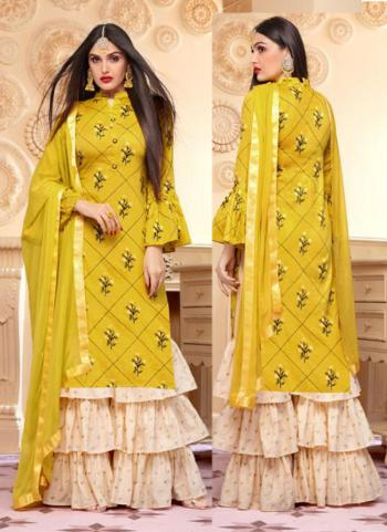 Yellow Jam Cotton Silk Festival Wear Digital Print Sharara Suit