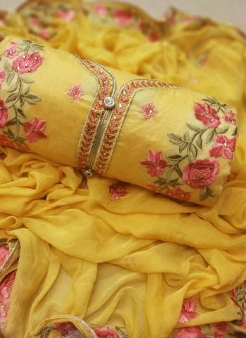 Yellow Modal Chanderi Daily Wear Embroidery Work Salwar Suit