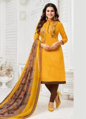Yellow Modal Silk Regular Wear Embroidery Work Churidar Suit