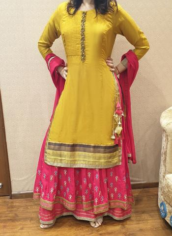 Yellow Muslin Festival Wear Hand Work Palazzo Suit