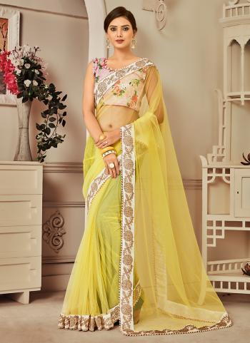 Yellow Net Diwali Wear Sequins Work Saree