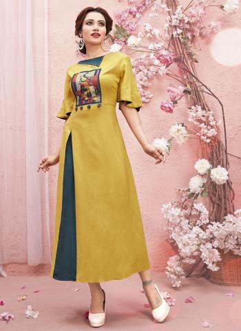 Yellow Rayon Casual Wear Digital Patch A Line Kurti