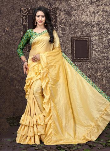 Yellow Sana Silk Casual Wear Lace Work Saree